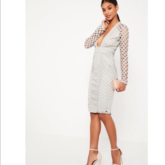 0146278aa05c MissGuided Grey Lace Plunge Midi Dress